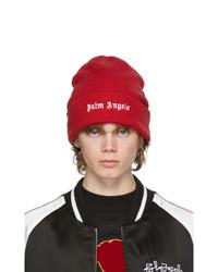 Palm Angels Red Wool Logo Beanie