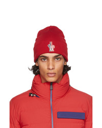 MONCLER GRENOBLE Red Wool Logo Beanie