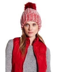Natasha Accessories Two Tone Faux Fur Knit Beanie