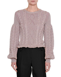 Valentino Metallic Cable Knit Blouson Sleeve Sweater