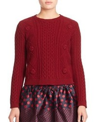 RED Valentino Virgin Wool Cable Knit Sweater