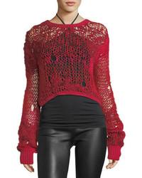 Grunge cropped open knit wool sweater medium 4424611