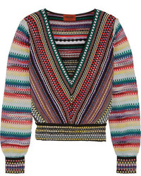 Missoni Cropped Crochet Knit Sweater Red