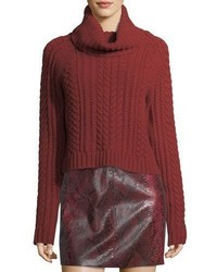 Alice + Olivia Tobin Cable Knit Cropped Turtleneck Sweater