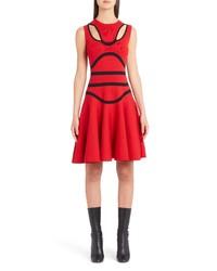 Alexander McQueen Bustier Knit Fit Flare Dress