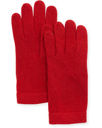 Portolano Cashmere Basic Ply Knit Gloves Red