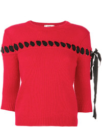 Fendi Lace Embroidered Knit Top