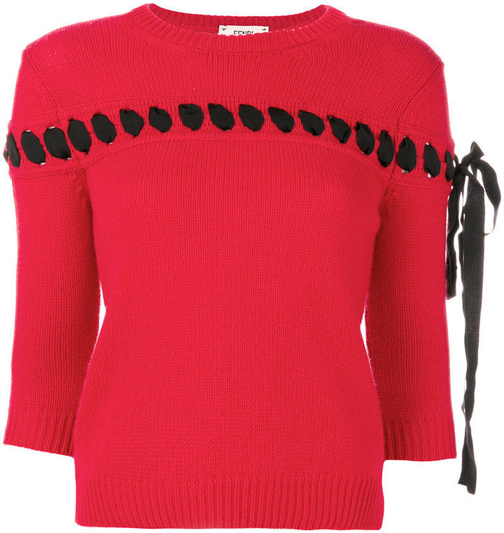 1cc719871b9f ... Fendi Lace Embroidered Knit Top ...