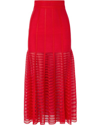 Alexander McQueen Paneled Lace And Open Knit Midi Skirt
