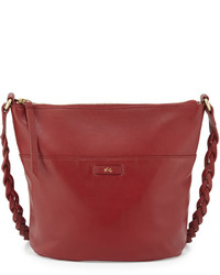 Foley + Corinna Cable Leather Bucket Bag Rouge