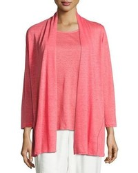 Caroline Rose Linen Knit Midi Cardigan Plus Size