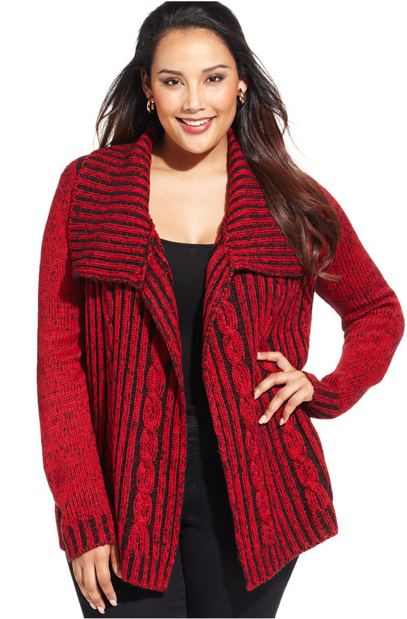 Ny Collection Plus Size Shawl Collar Cable Knit Cardigan Where To