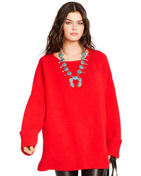 Red Knit Oversized Sweater