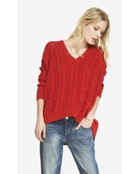 Express Oversized Mixed Stitch Tunic Sweater