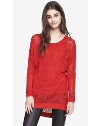 Express Pointelle Open Stitch Tunic Sweater