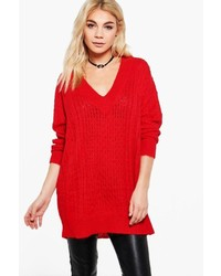 Boohoo Molly Deep V Oversized Jumper