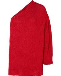 Stella McCartney Oversized One Shoulder Crochet Knit Sweater