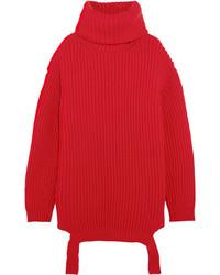 Balenciaga Oversized Ribbed Wool Turtleneck Sweater Red