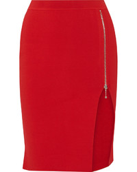 Red Knit Pencil Skirt