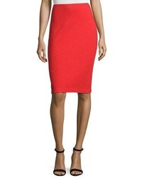 St. John Collection Clair Knit Pencil Skirt Red