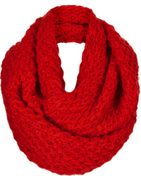 Topshop Red Cosy Knitted Snood With Diamond Stitch Detail 100% Acrylic Machine Washable