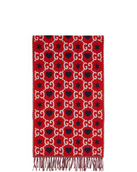 Gucci Red Gg Hearts Scarf