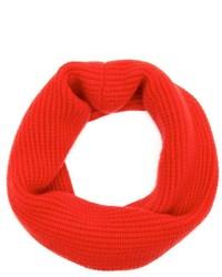 Portolano Tomato Red Cashmere Rib Knit Infinity Scarf