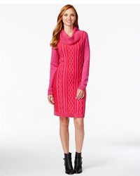 Cowl neck cable knit sweater dress medium 399676