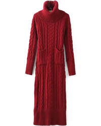 Turtleneck long sleeve cable knit black sweater dress medium 399677