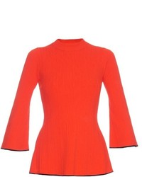 Proenza Schouler Contrast Trimmed Ribbed Knit Sweater
