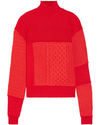 Alexander ueen wool and cashmere blend turtleneck sweater red medium 5387681