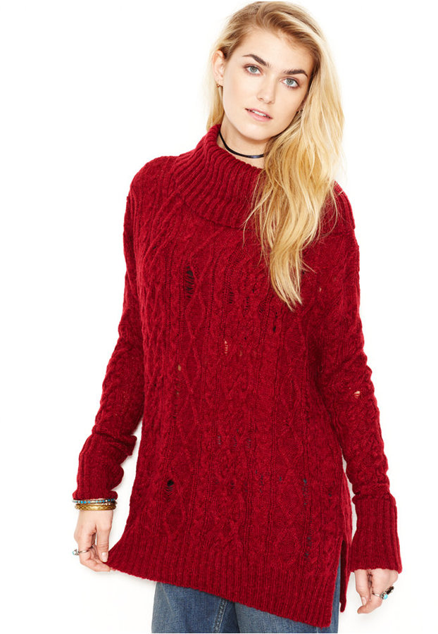 Free People Complex Cowl Neck Rip And Repair Cable Knit Sweater ...