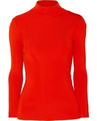 Victoria Beckham Open Back Ribbed Knit Turtleneck Sweater