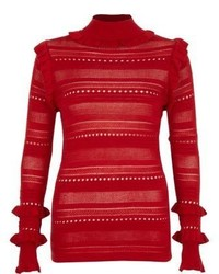 River Island Red Pointelle Knit Turtle Neck Jumper