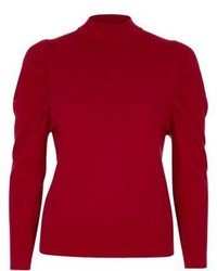 River Island Red Ruched Shoulder Turtle Neck Knitted Top