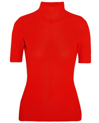 Ribbed pointelle knit turtleneck top tomato red medium 1126068