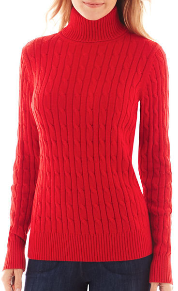jcpenney St Johns Bay St Johns Bay Long Sleeve Cable Turtleneck ...