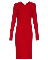 Red Knit Wool Midi Dress