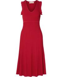 MICHAEL Michael Kors Ruffled Ribbed Knit Midi Dress