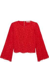 Alice + Olivia Alice Olivia Pasha Corded Lace Top Red
