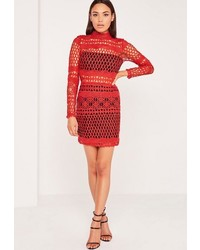 Lace overlay long sleeve bodycon dress red medium 3759634