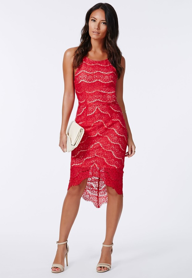 47c30cbfb58258 Missguided Lolla Lace Curved Hem Bodycon Dress Red, $70 | Missguided ...