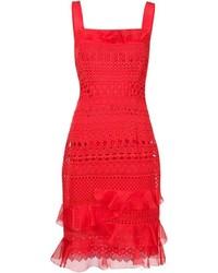 Oscar de la Renta Guipure Lace Sleeveless Dress