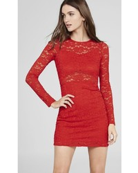 Red Lace Open Back Dress