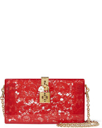 Lace and perspex box clutch red medium 696378