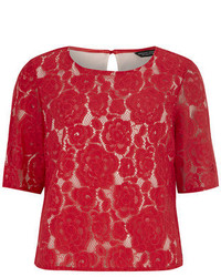 Dorothy Perkins Red Rose Lace Short Sleeve Tee