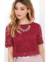 LuLu*s When You Believe Navy Blue Lace Crop Top