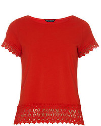 Dorothy Perkins Red Lace Cuff And Hem Tee
