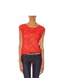 The limited lace front layering tee red s medium 179043