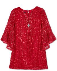 Amy Byer Bcx Sequin Lace A Line Dress Necklace Set Big Girls